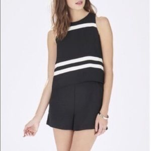Parker black/white sleeveless foldover romper